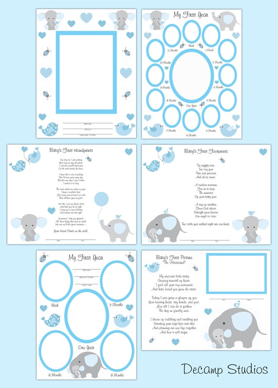 Printable Scrapbook Pages Blue Elephant Baby Boy First Year Etsy