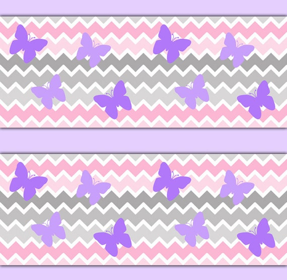 PINK GREY CHEVRON Ombre Wallpaper Border Decal Purple