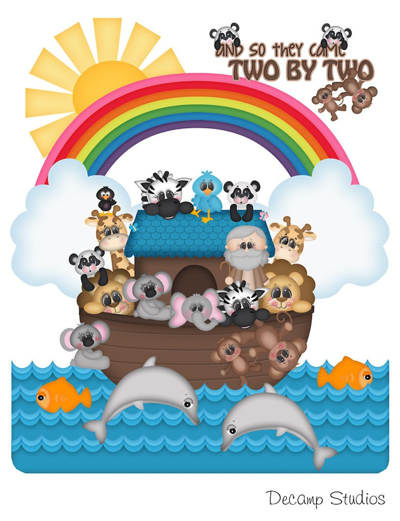Wall Decals Murals Girl Boy Shower Decorations Religious Bible Story Characters Noahs Ark Animals Mural Kids Art Decal Baby Nursery Room Stickers Decor Home Living