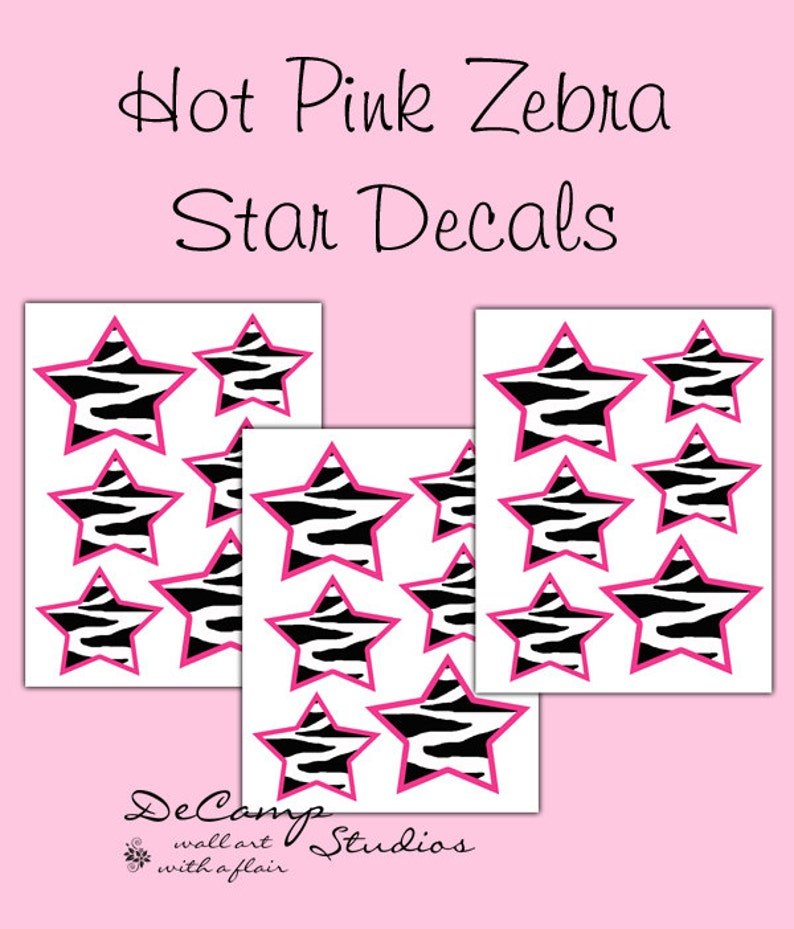 HOT PINK ZEBRA Star Decals Wall Art Safari Animal Print Teen Girls Room  Wall Decor Baby Nursery Childrens Bedroom Kids Geometric Stickers