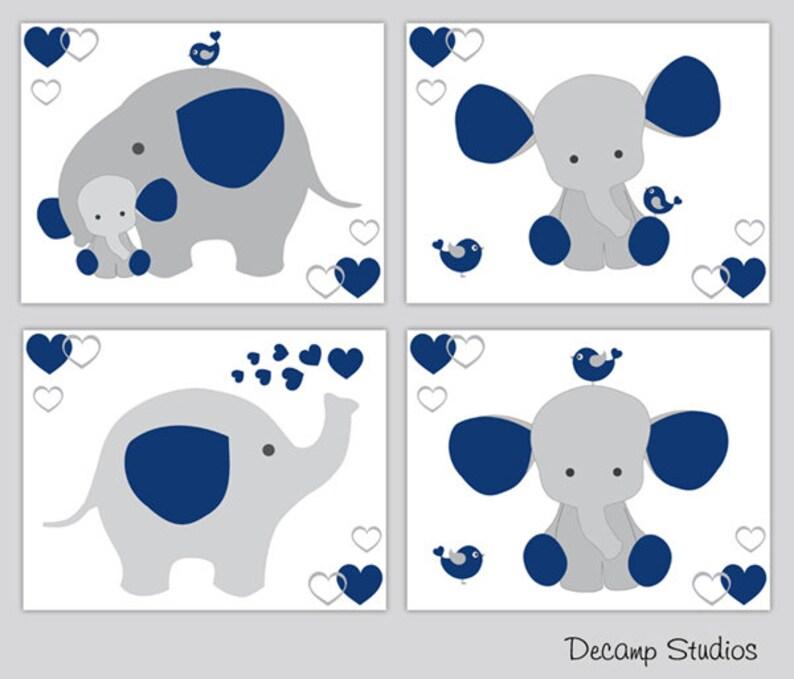NAVY BLUE ELEPHANT Nursery Wallpaper Border Baby Boy Wall