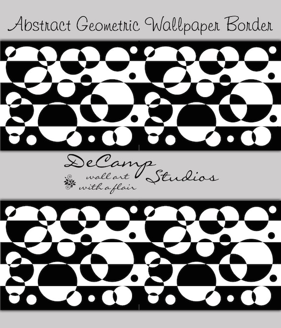 Abstract Wallpaper Border Black White Wall Decal Geometric Design Bedroom Livingroom Modern Art Circle Pattern Stickers Home Room Decor