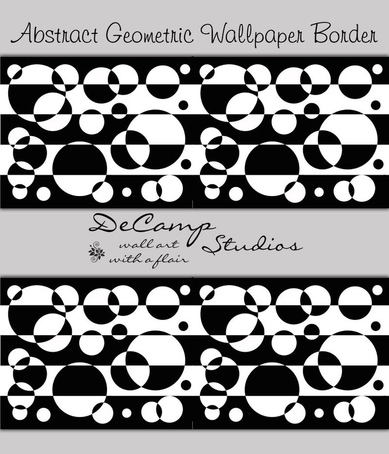 abstract wallpaper border black white wall decal geometric | etsy