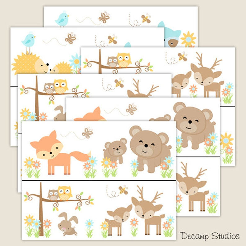 WOODLAND ANIMAL NURSERY Baby Girl Wallpaper Border Wall ...