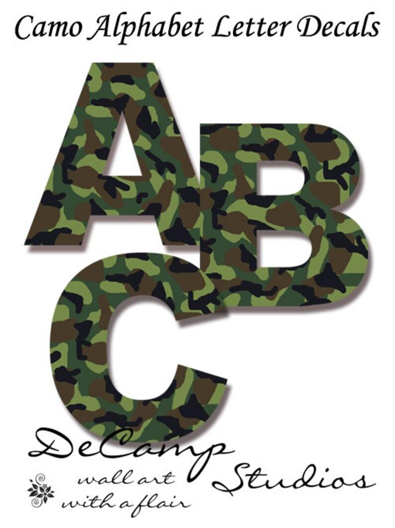 Camo Buchstaben Aufkleber Wand Kunst Militär Armee Alphabet Sticker Zimmer Dekor Grün Camouflage Personalisierte Name Kinder Jagd Baby Boy Abc