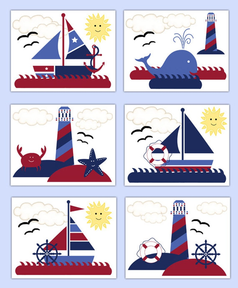 Nautical Nursery Prints Sailboat Wall Art Boy Whale Kids Bathroom Sailor Decor
