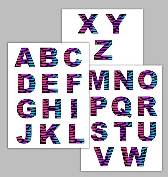 Letra de cebra del arco iris pegatina de imágenes prediseñadas | Etsy