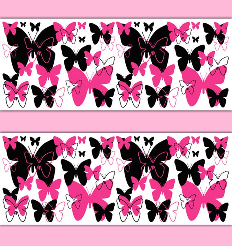 HOT PINK BUTTERFLY Border Decal Wall Art Teen Girls Stickers | Etsy