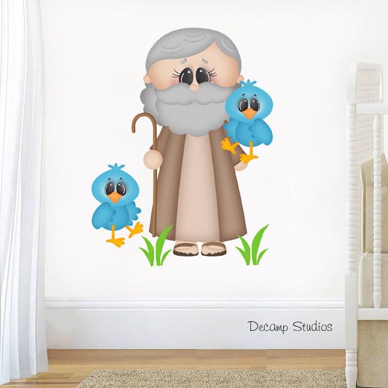 Home Decor Baby Girl Boy Neutral Shower Decorations Noahs Ark Nursery Decal Wall Art Sticker Kids Room Bible Story Church Living