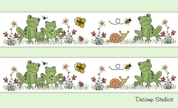 FROGGY FRIENDS FROGS ON LILY PADS Wall Border Baby Nursery Kids Room Wall Decor