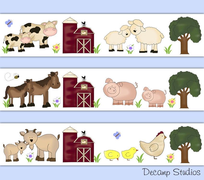 Sheep Lamb Nursery Wallpaper Border Girl Wall Art Decals Farm Barnyard Animals