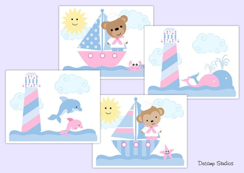 PINK NAUTICAL NURSERY Baby Girl Sailboat Wallpaper Border Wall Art Decal Kids Room Decor Lighthouse Whale Starfish Dolphin Teddy Bear Monkey