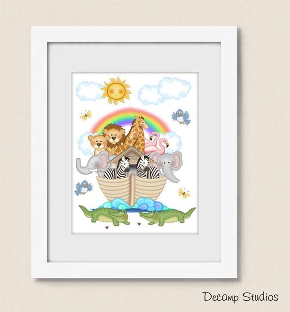 Imprimable Noahs Ark Bébé Crèche Art Print Animal Digital Download Neutre Chambre Decor Enfants Et Salle De Bain Safari Girafe Zèbre éléphant Lion