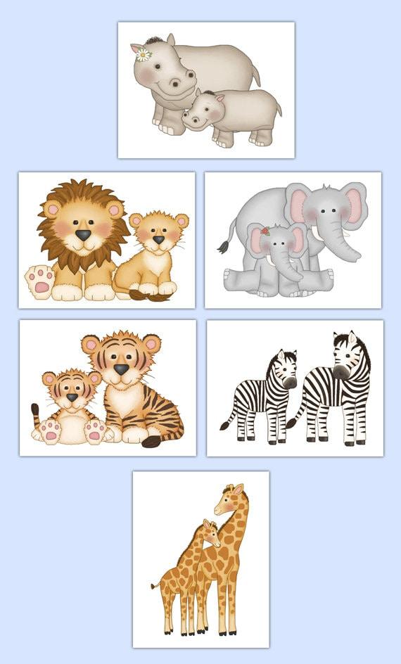 SAFARI ANIMAL PRINTS or Wall Art Decal Baby Jungle Nursery Stickers Boy  Girl Kids Room Decor Childrens Bedroom Zebra Elephant Giraffe Hippo