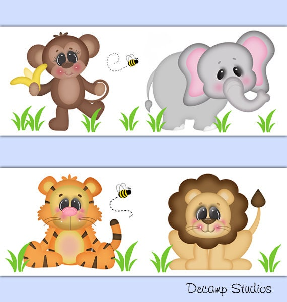 Safari Animal Nursery Wallpaper Border Wall Art Decals Kids Room Stickers Decor Jungle Monkey Elephant Tiger Lion
