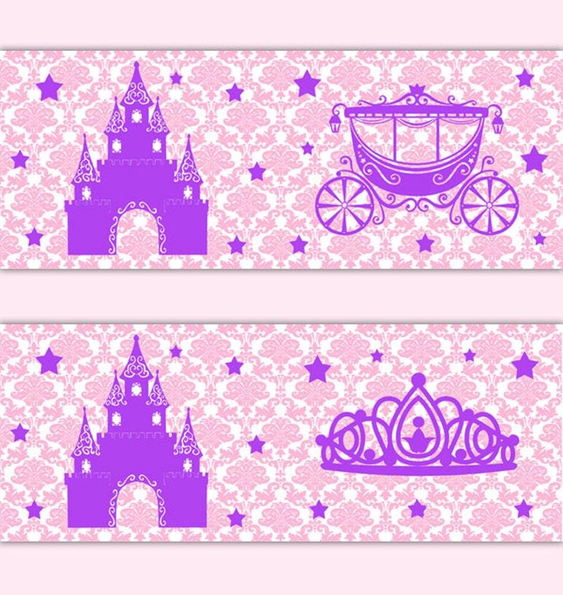 Princess Pink Purple Damask Wallpaper Border Wall Art Decals Baby Girl Nursery Room Gold Silver Gray Mint Green Lavender