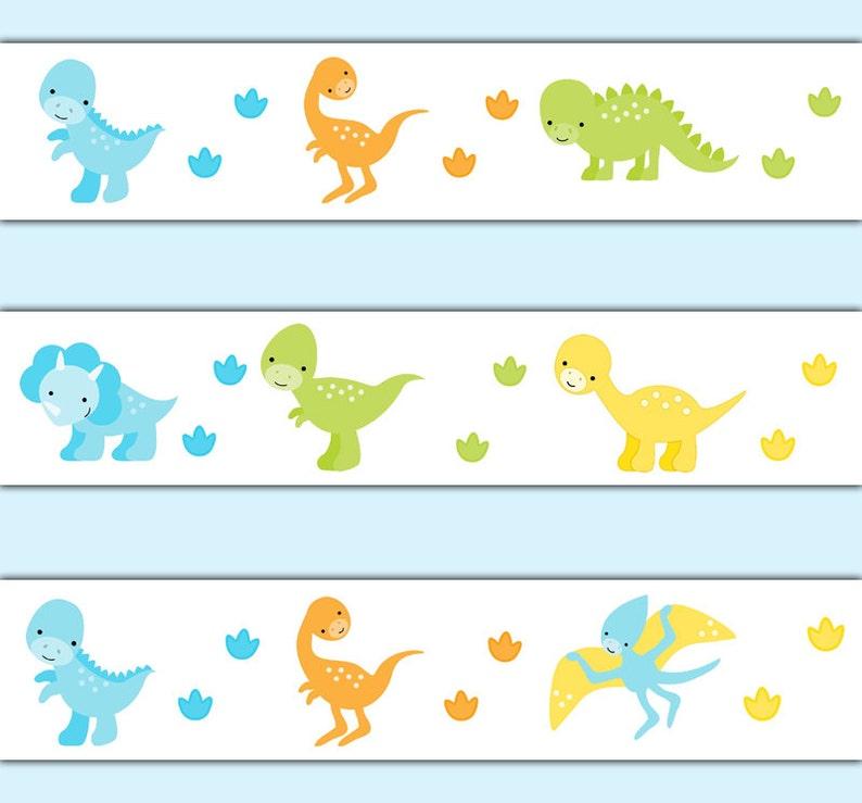 Dinosaur wallpaper border decal wall art baby dino nursery etsy - Paperboy dinosaur wallpaper ...