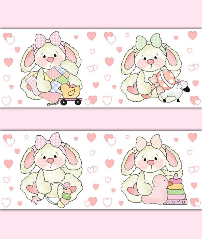 BUNNY WALLPAPER BORDER Wall Decals Woodland Rabbit Forest Animals Friends  Pink Baby Nursery Kids Room Childrens Bedroom Stickers Art Decor