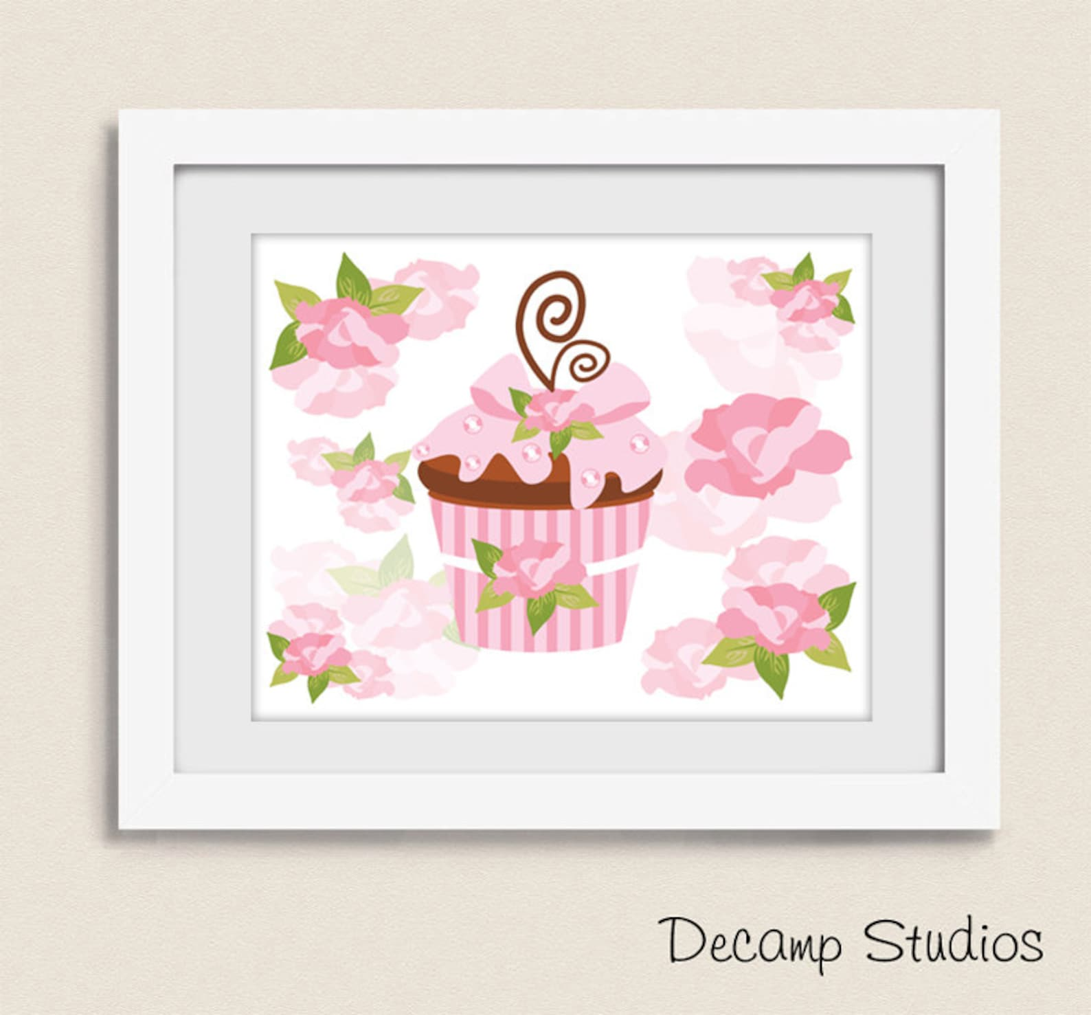 printable ballerina nursery girl wall art princess digital download baby pink floral roses tiara crown cupcake ballet shoes tutu