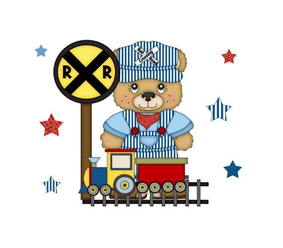 TEDDY BEAR DECAL Wall Mural Train Conductor Transportation Nursery Baby Boy  Childrens Bedroom Kids Railroad Tracks Room Stickers Art Decor 2