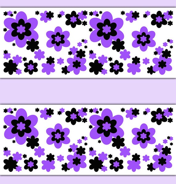 Floral Wallpaper Border Purple Decals Wall Art Teen Girls Flower Garden Abstract Stickers Decor Baby Nursery Kids Room Childrens Bedroom