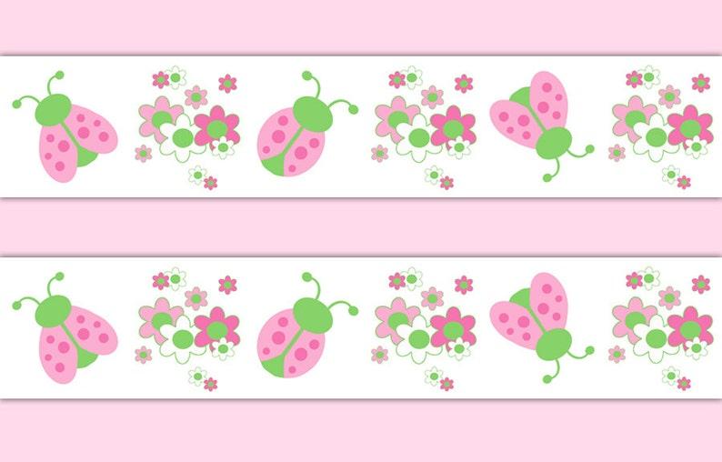 Pink Ladybug Wallpaper Border Wall Art Decals Girls Floral Ladybird Stickers