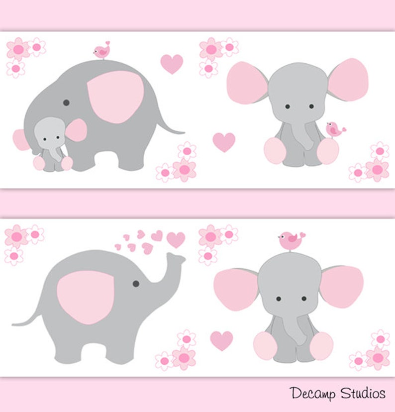 Pink Grey Elephant Nursery Baby Girl Wallpaper Border Wall Decal Gray Art Stickers Decor Safari Shower Decorations Jungle Animal Floral
