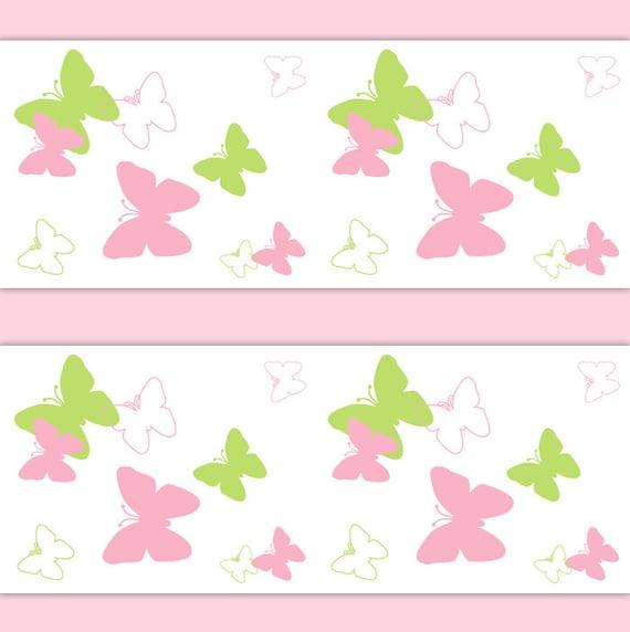Butterfly Wings Nursery Decor Wallpaper Border Pink Green Wall Etsy