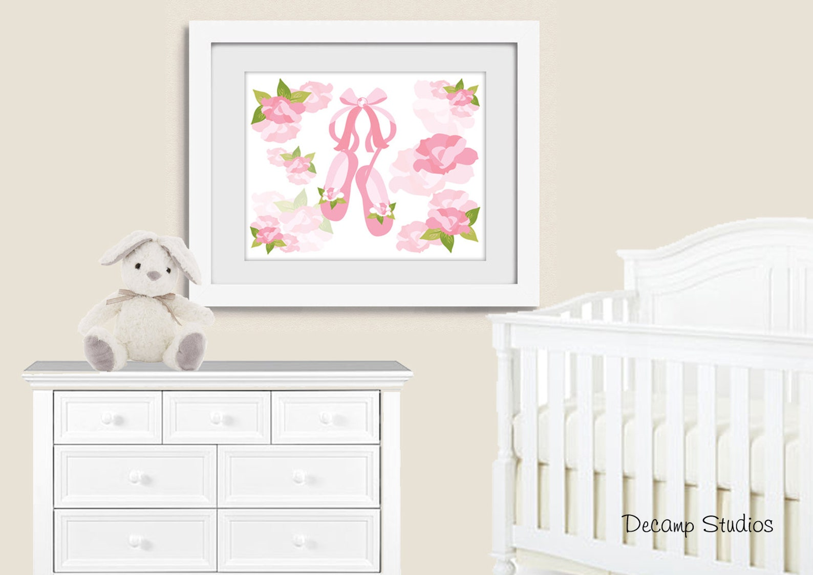 printable ballerina nursery girl wall art princess digital download baby pink floral roses tiara crown cupcake ballet shoes tutu