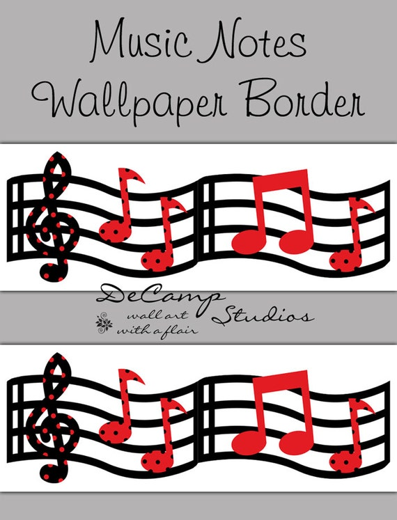MUSIC WALLPAPER BORDER Wall Art Decals Red Black Musical Notes