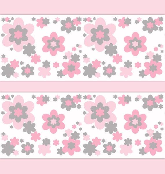 GIRL NURSERY DECOR Pink Gray Floral Wallpaper Border Decal Grey Wall Art  Stickers Room Baby Flower Garden Kids Childrens Bedroom Decorations