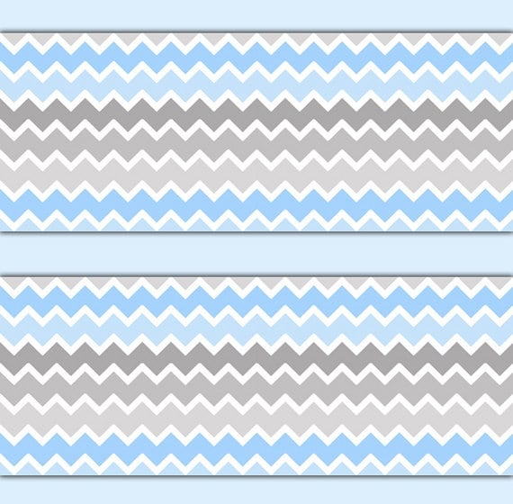 Blue Grey Ombre Chevron Wallpaper Border Wall Decals Boy Etsy