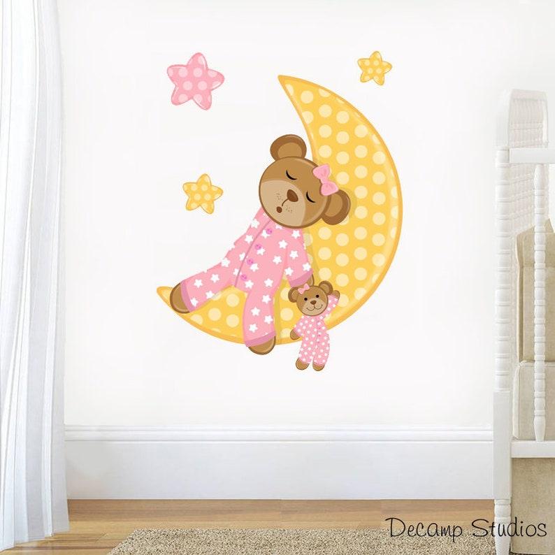 Teddy Bear Nursery Decal Baby Boy Wall Art Cloud Star Stickers Kids Mural Room