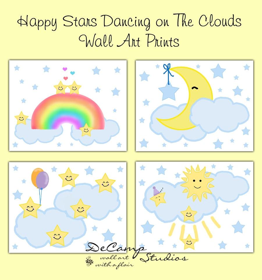 MOON STAR PRINTS Wall Art Nursery Cloud Rainbow Room Decor | Etsy