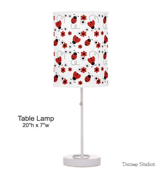 RED LADYBUG LAMP Nursery Baby Girl Table Kids Room Desk Night Light Dresser Changing Table Lighting Lampshade Children/'s Table Desk Lamp