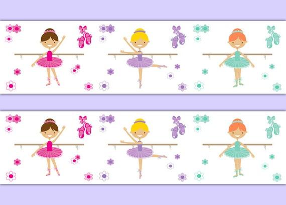 Ballerina Zimmer Dekor Madchen Kinderzimmer Tapete Zierrahmen Etsy