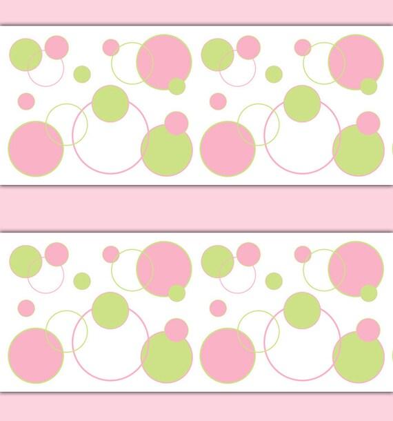 Pink Green Polka Dot Wallpaper Border Wall Art Decal Girl Etsy