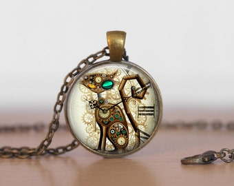 Cat Steampunk Necklace, Steampunk Jewelry