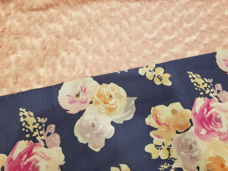 Carseat Baby Blanket Cotton Watercolor Floral Minky backing 23 colors Carseat Blanket Crib Blanket Minky Blanket Rosebud Fur shown