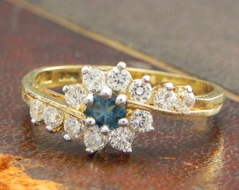 Sterling Silver Gold Vermeil Ring with Round Cut Blue Topaz and CZ Stones / Fine Silver Jewelry Size 6 / Blue Topaz Ring