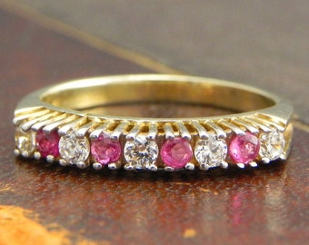 Sterling Silver Gold Vermeil Ring with Round Cut Ruby and CZ Stones / Fine Silver Jewelry Size 6.5 / Ruby Ring Pink Sapphire Stackable Ring