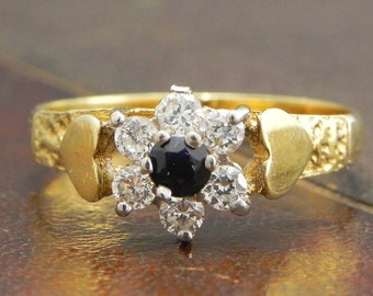 Sterling Silver Gold Vermeil Ring with Round Cut Sapphire and CZ Stones / Fine Silver Jewelry Size 9.5 / Sapphire Cluster Ring