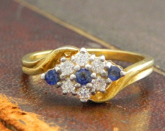 Sterling Silver Gold Vermeil Ring with Round Cut Sapphire and CZ Stones / Fine Silver Jewelry Size 6.5 / Sapphire Twist Ring
