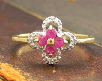 Ruby and Diamond Ring, Vintage 3 stone Ruby dress ring, size 8, Suitable as Promise ring, or Birthstone, Cross Ring, Cruciform