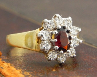 Sterling Silver Gold Vermeil Ring with Oval Cut Garnet and Cz Stones / Fine Silver Jewelry Size 6.5 / Garnet ClusterRing