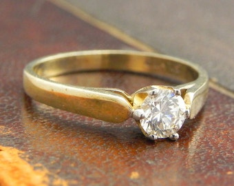 Sterling Silver Gold Vermeil Ring with Round Cut CZ Cubic Zirconia Stones / Fine Silver Jewelry Size 6.5 / CZ Solitaire Ring
