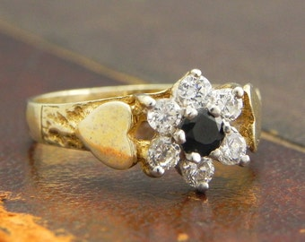 Sterling Silver Gold Vermeil Ring with Round Cut Sapphire and CZ Stones / Fine Silver Jewelry Size 7.5 / Sapphire Cluster Ring