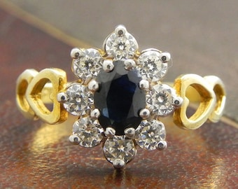 Sterling Silver Gold Vermeil Ring with Round Cut Sapphire and CZ Stones / Fine Silver Jewelry Size 7 / Sapphire Cluster Ring
