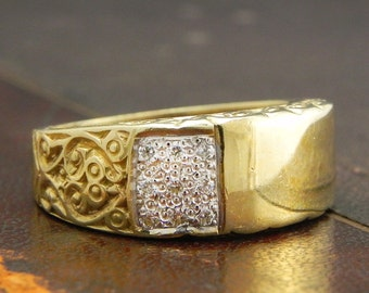 Sterling Silver Signet Ring, Sterling Gold Vermeil CZ Gents Signet Ring - Fine Silver Size 10 / Signet Ring