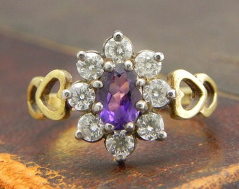 Sterling Silver Gold Vermeil Ring with Oval Cut Amethyt and CZ Stones / Fine Silver Jewelry Size 6.5 / Amethyst Cluster Ring